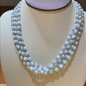 Jewelry - Freshwater Pearl and Blue Bead Necklace, 18""